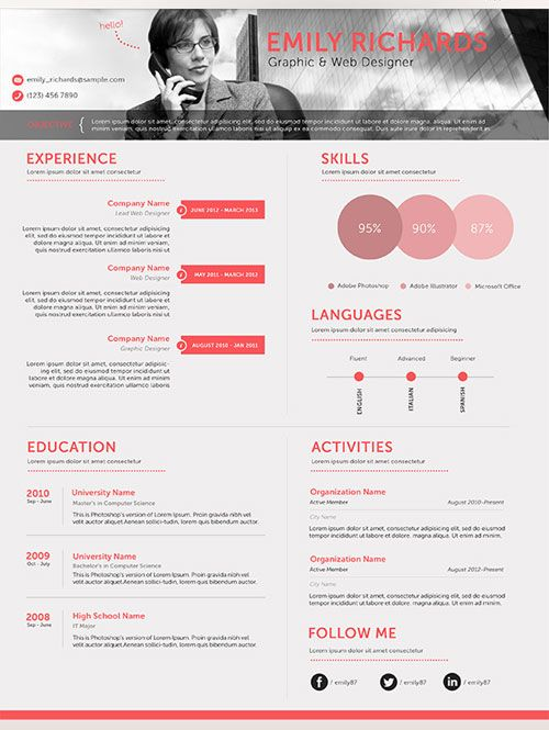 Free PSD Professional Business Resume Creative Pinterest