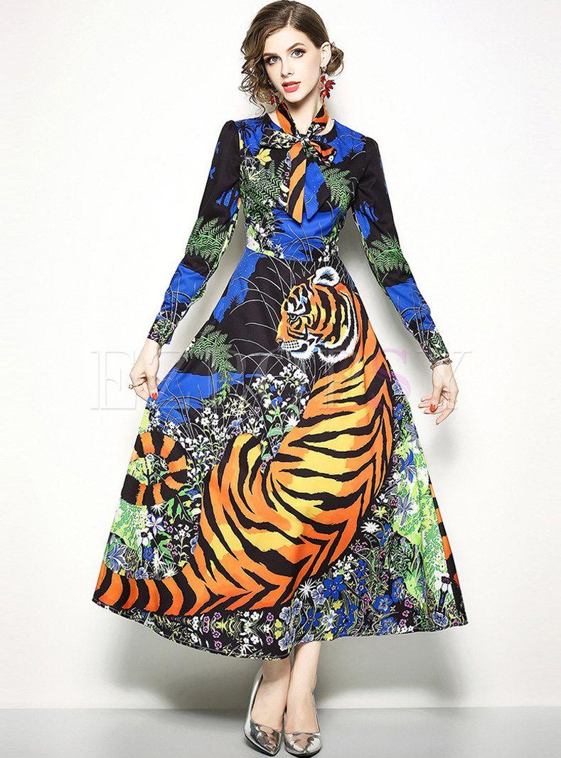 Animal print bowknot long sleeve maxi dress in fashion that