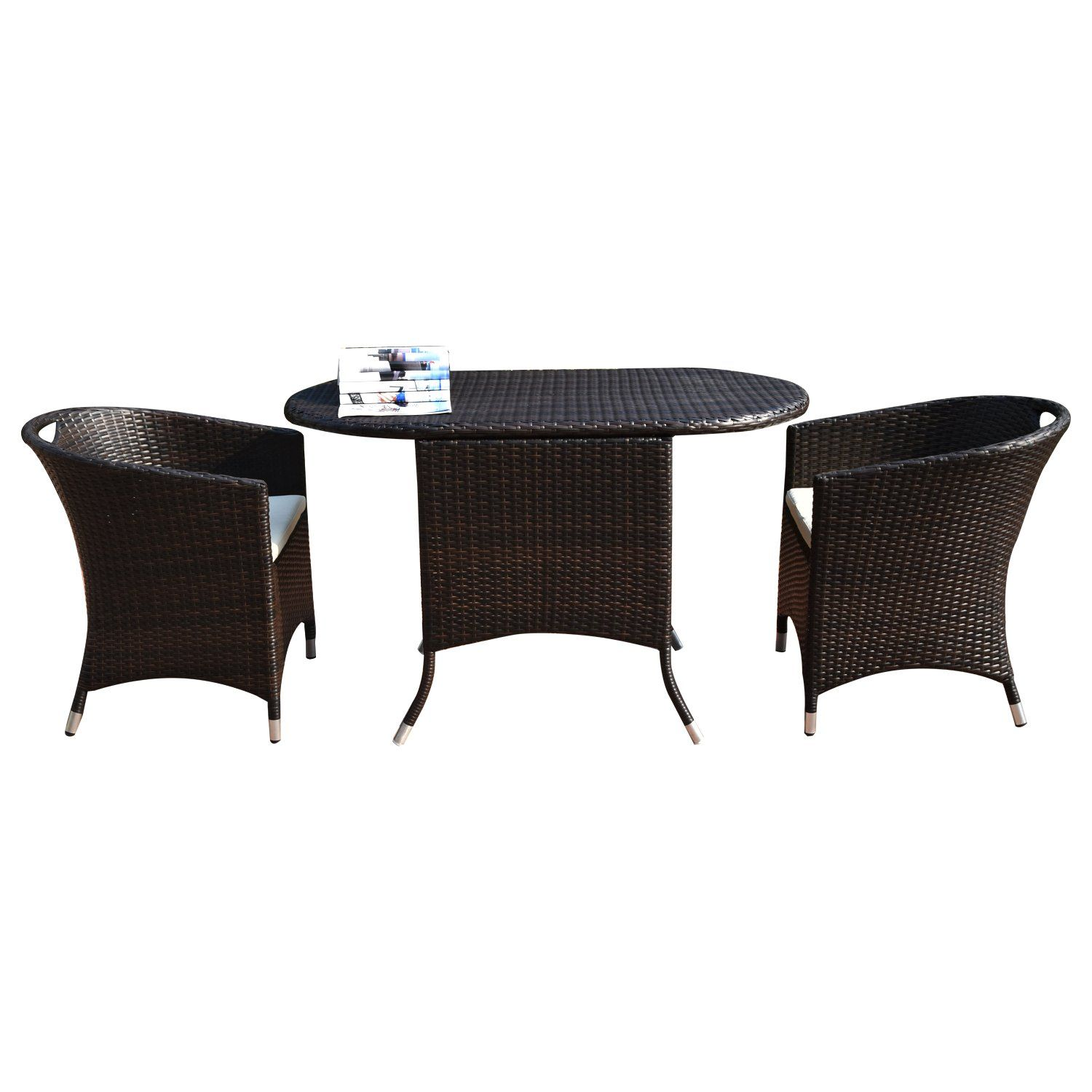 Adeco patio furniture set brown wicker piece dinning set with