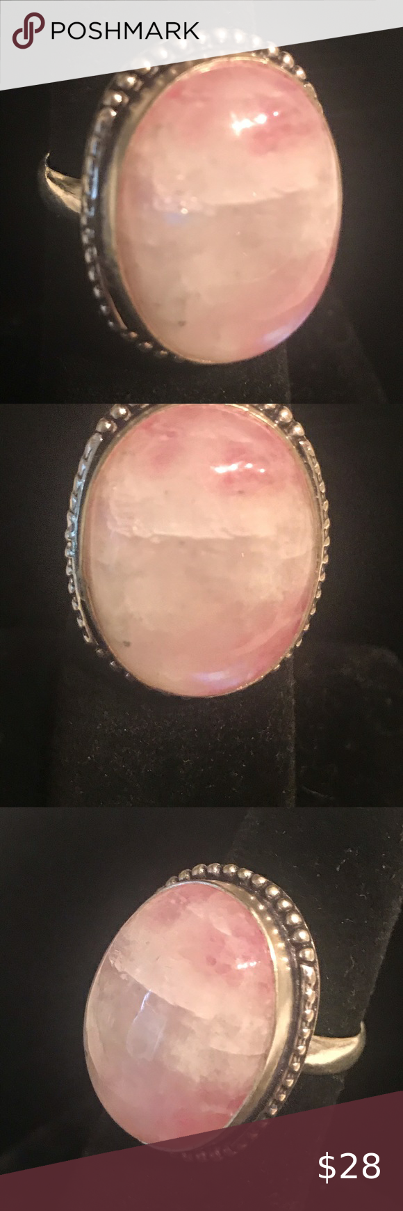 Pink Moonstone Ring This is a new handmade natural stone ring that is 925 Sterling silver stamped Please visit Maddies Jewels group on Facebook to see our newest beautifu...