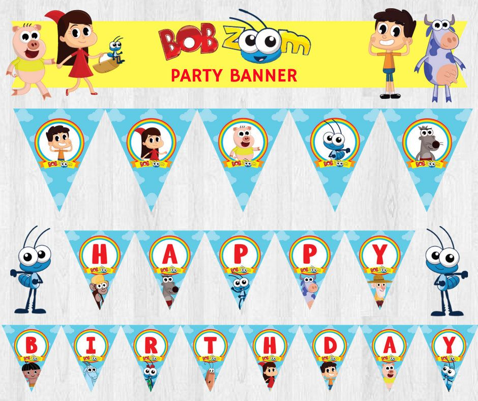 Bob Zoom Editable Birthday Party Banner Party Bunting Party Sign