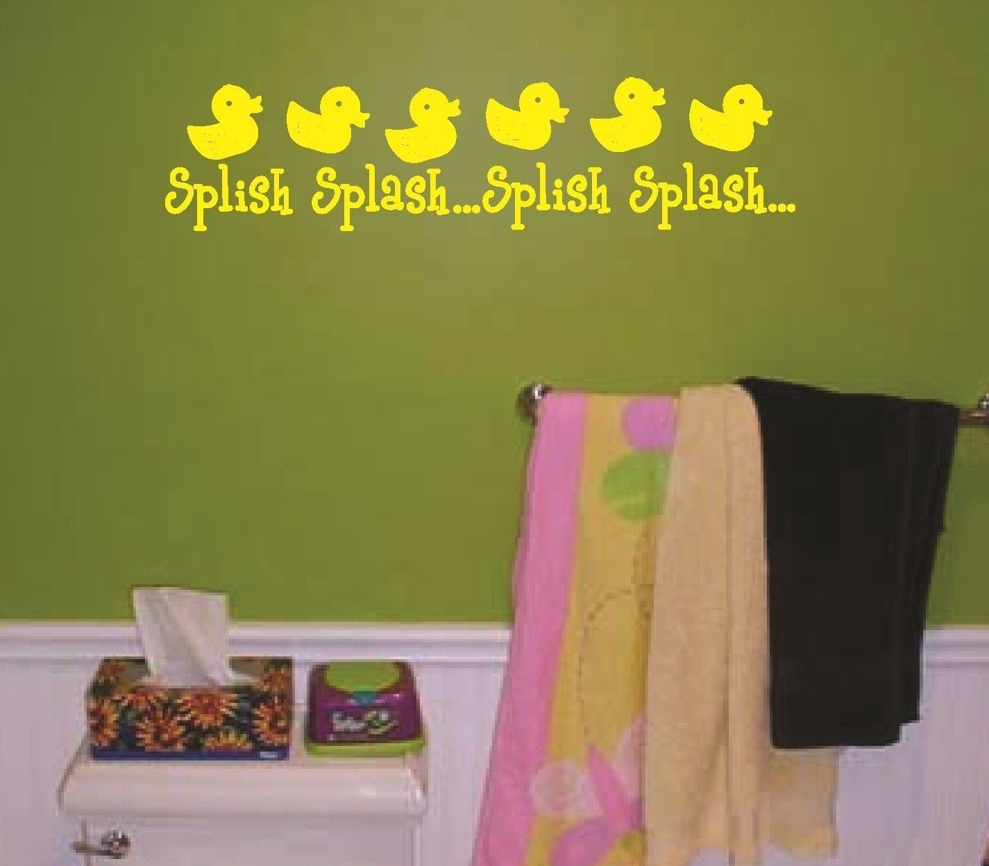 Wall Decal Splish Splash Rubber Duck Duckies Vinyl Sticker Word Art ...