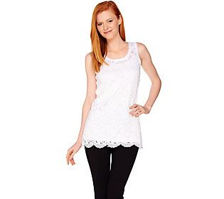 Attitudes by Renee Sleeveless Lace Knit Tunic with Camisole