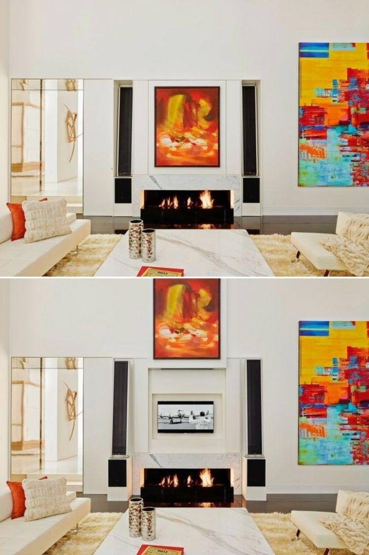 Interior design-ideen wohnzimmer mit tv fernsehwandideentvwandautomatischwandbildkaminkombinieren