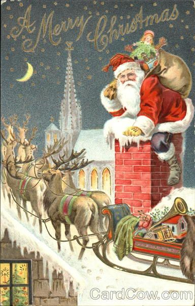 Santa Reindeer And Sleigh On Rooftop Santa Claus Vintage Christmas Images Christmas Images Christmas Postcard