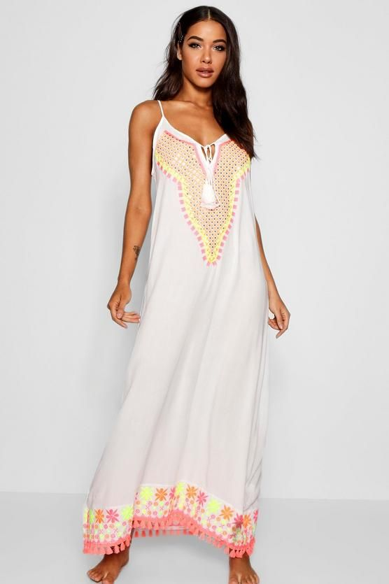 8b534e50d4 Embroidered Beach Maxi Dress - boohoo, cover-up, beach cover-up, swim cover- up