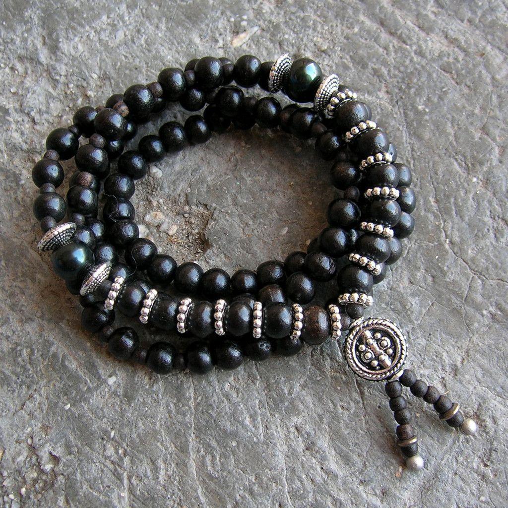 Strength mala ebony prayer beads genuine dark green