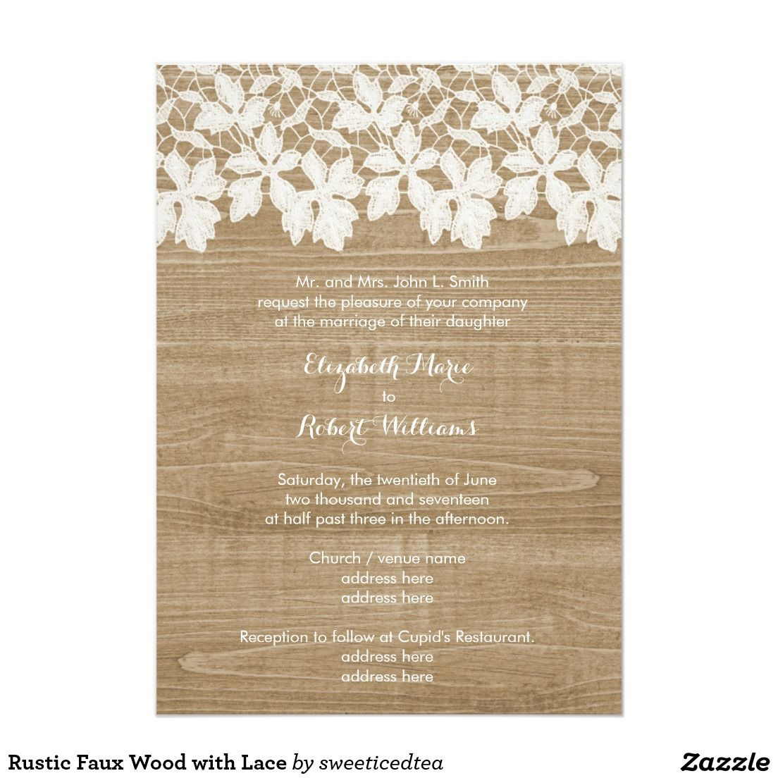 Rustic Faux Wood with Lace 5x7 Paper Invitation Card | Business ...