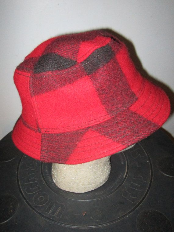 Red and Black Plaid Mackinaw Wool Bucket Hat by by TheWordEmporium ... e79dab2011f