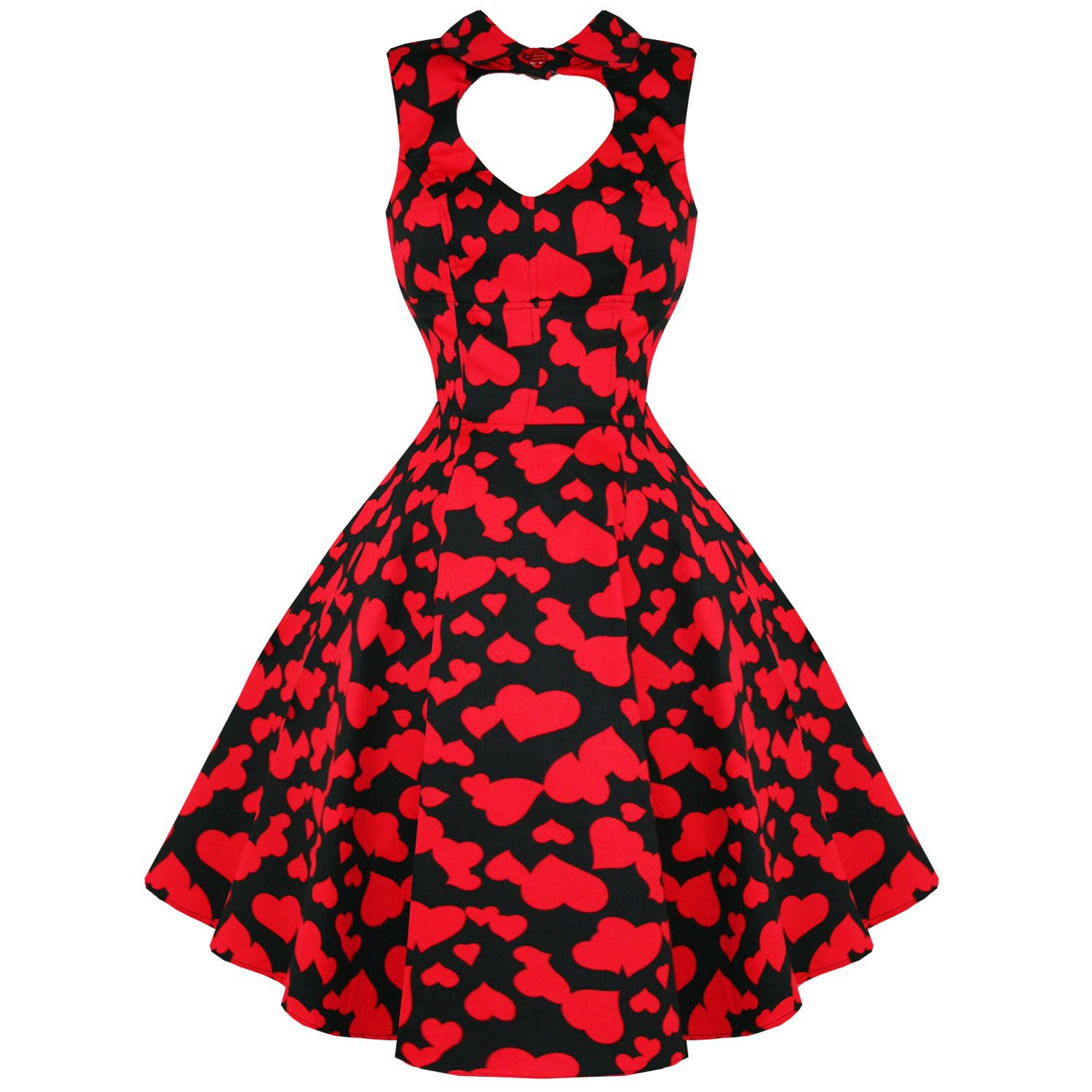 d6dc67824fca Hearts Roses London Red Heart Valentines Vintage 50s Party Prom Swing Dress