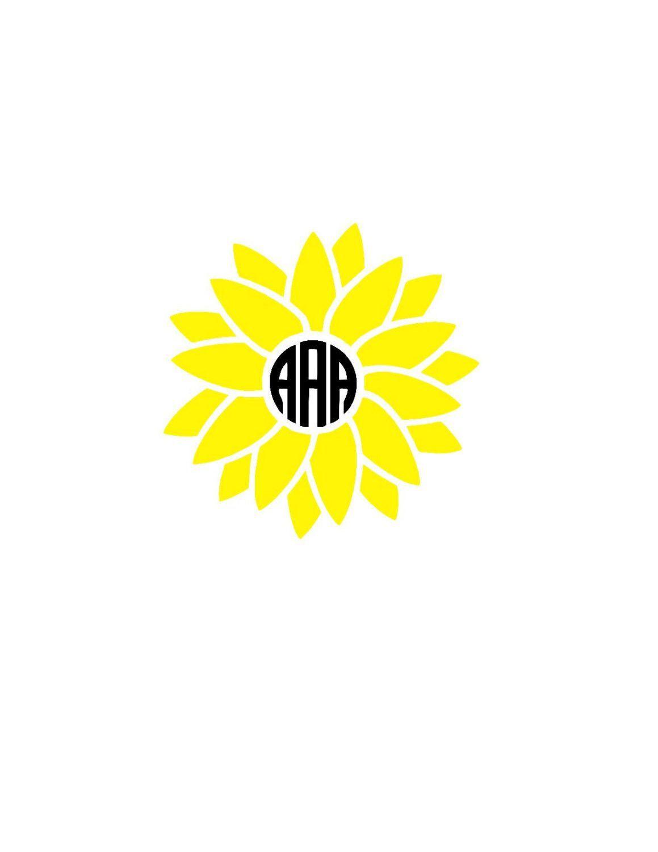 Sunflower Monogram Decal   Flower Monogram Decal   Car ...