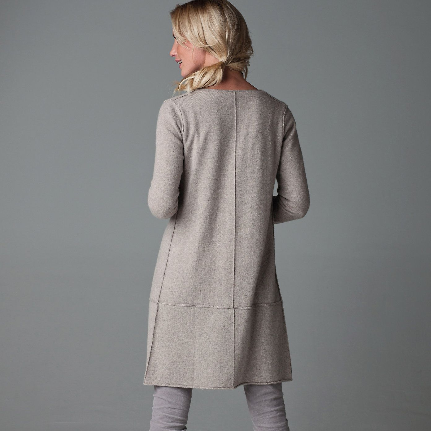 Cashmere Longline Cardigan - Taupe from The White Company