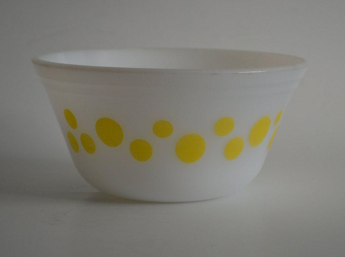 Vintage Federal Glass Yellow Polka Dot Bowl, Mixing and ...