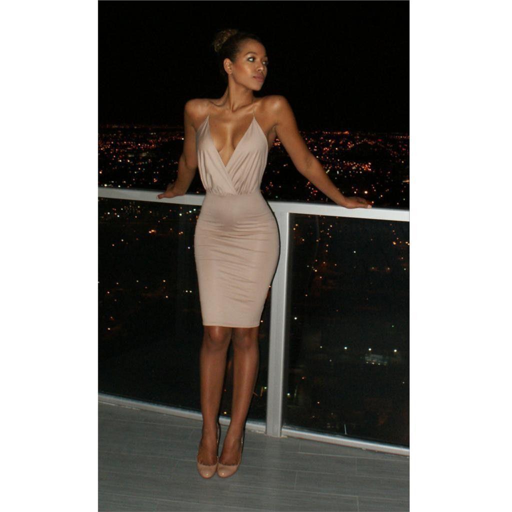 25b3f61c9b V-neck Backless Spaghetti Strap Bodycon Sheath Knee-length Dress ...