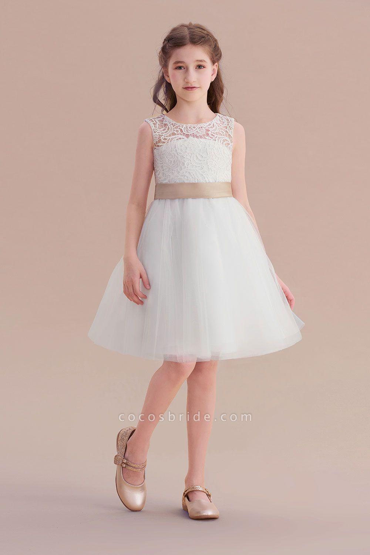 Bow tulle lace knee length aline flower girl dress