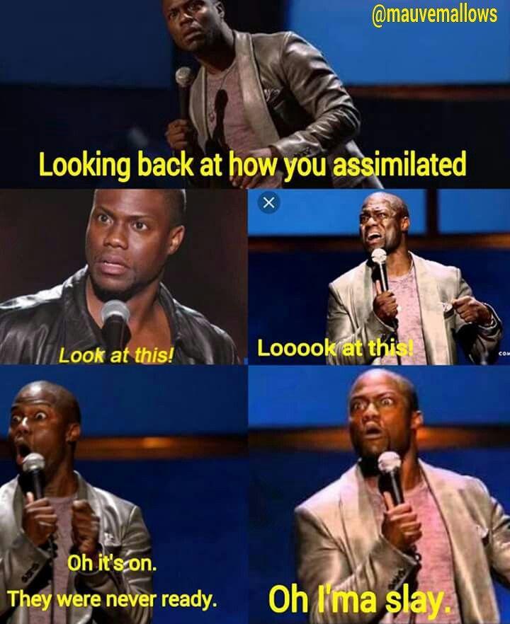 Mauve Mallow Meme Funny Blackgirlmagic Slay Self Love Assimilation Kevin Hart Laugh Memes Looking Back Laugh
