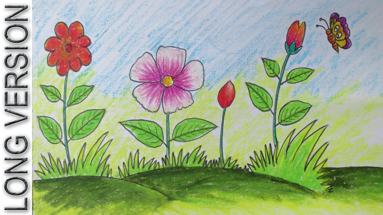 How To Draw A Scenery With Flowers For Beginners Long Version In 2020 Flower Drawing Flower Garden Drawing Easy Drawings