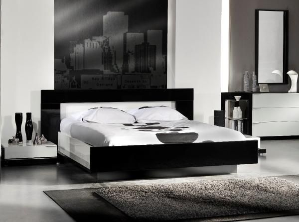 High Gloss Black And White Callis Bed By French Designer Sciae Contemporary Furniture Highgloss