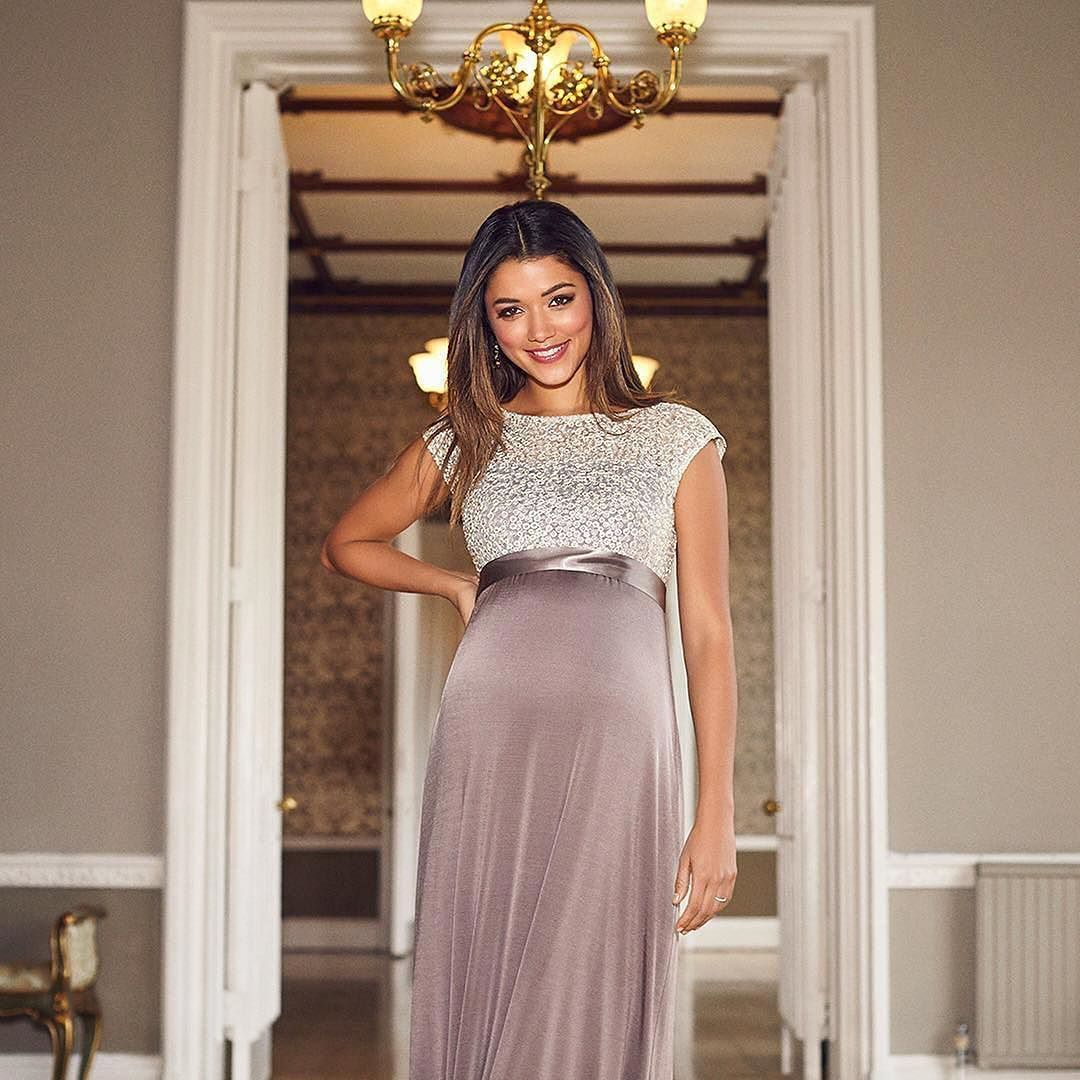 8ceec37bca6  tiffanyrosematernity Subtle and elegant in divine creamy taupe tones our  sequinned full length gown is
