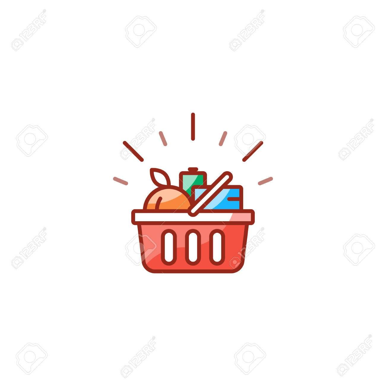 Grocery shop basket full of food shopping special offer promotion best deal good quality products vector line icon design