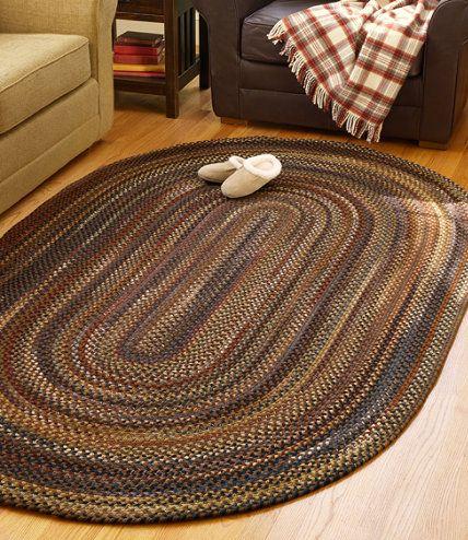 Ll Bean Braided Wool Rug Dark Khaki Russet