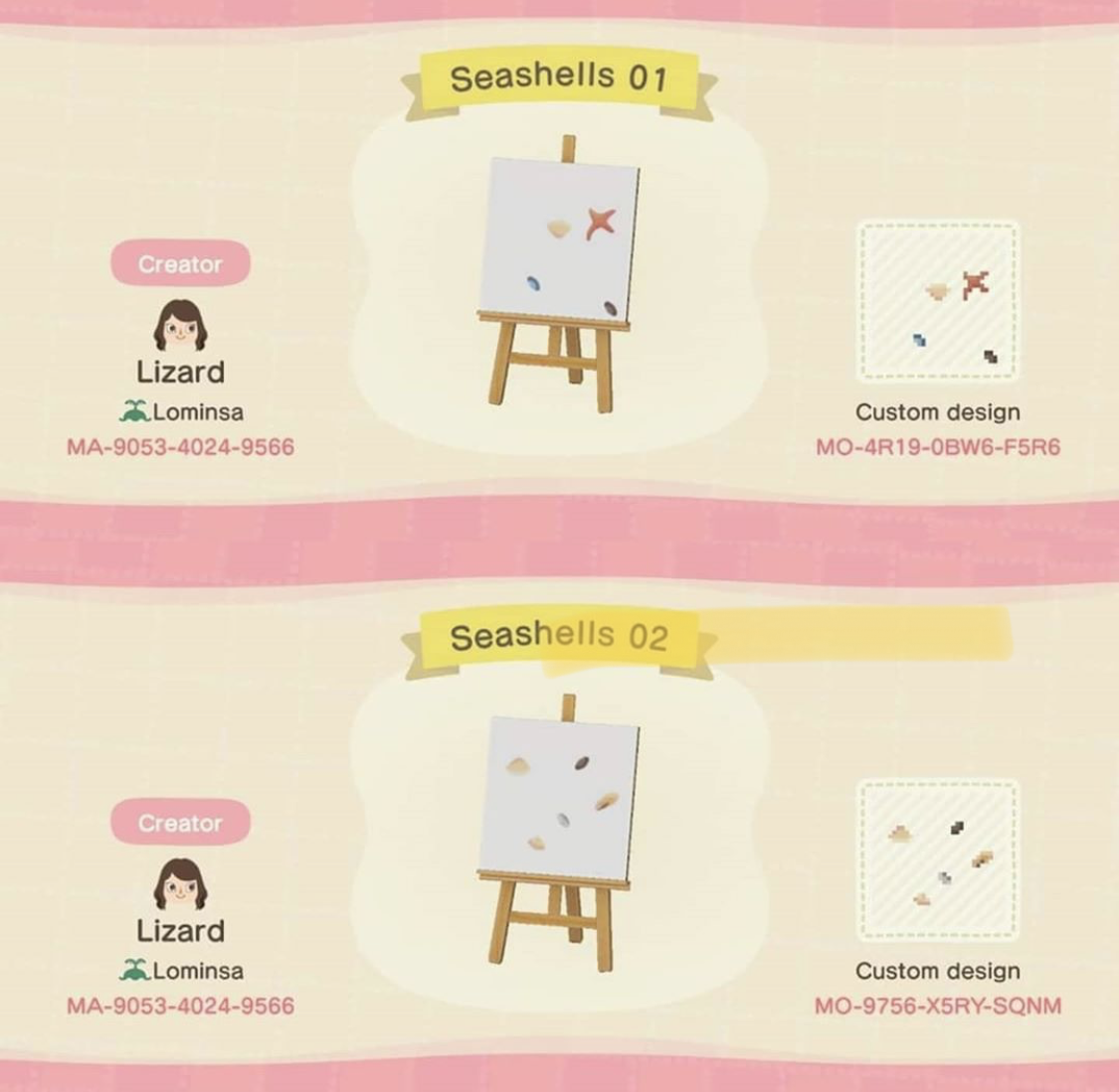 Seashells Designed By Lizard Of Lominsa Found On Acnh Custom Designs In 2020 Animal Crossing New Animal Crossing Animal Crossing Game