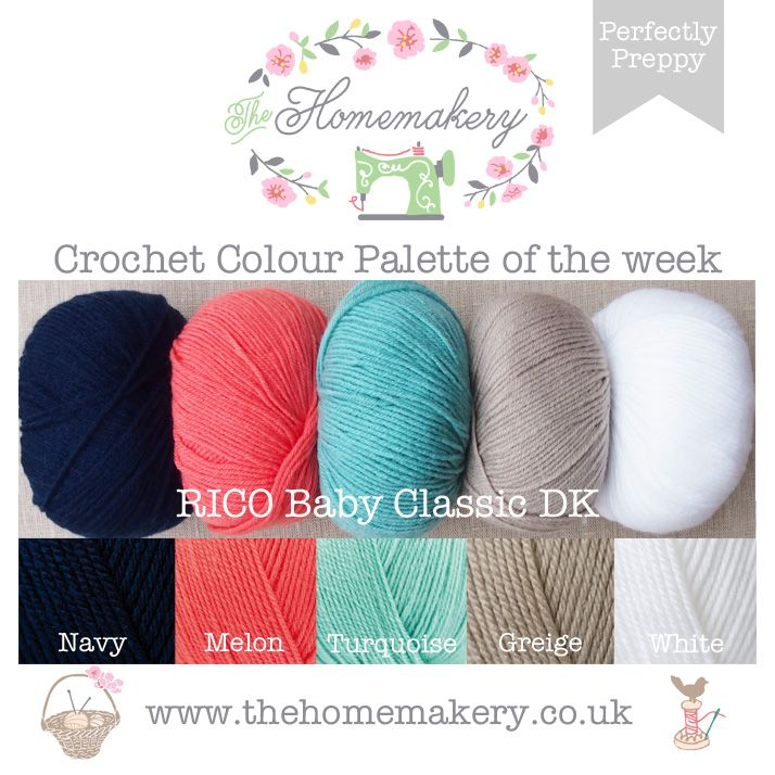 Crochet Colour Palette Perfectly Preppy The Homemakery Blog Yarn Color Combinations Yarn Colors Crochet