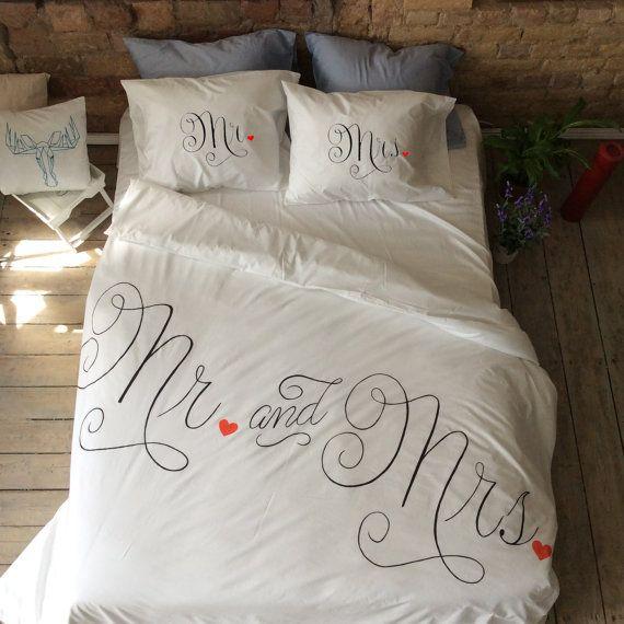 Charmant Wedding Duvet Cover Set, Couple Bedding, Mr And Mrs, Gift For Him Her,  Cotton Anniversary Gift For Couple Engagement Gift Honeymoon Gift Bedding  Set (Duvet ...