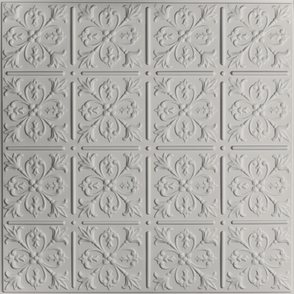 Ceilume Fleur De Lis Stone 2 Ft X 2 Ft Lay In Or Glue Up Ceiling Panel Case Of 6 V3 Flr 22sto 6 The Home Depot In 2020 Tin Ceiling Vintage Tin Ceiling Tile Ceiling Panels