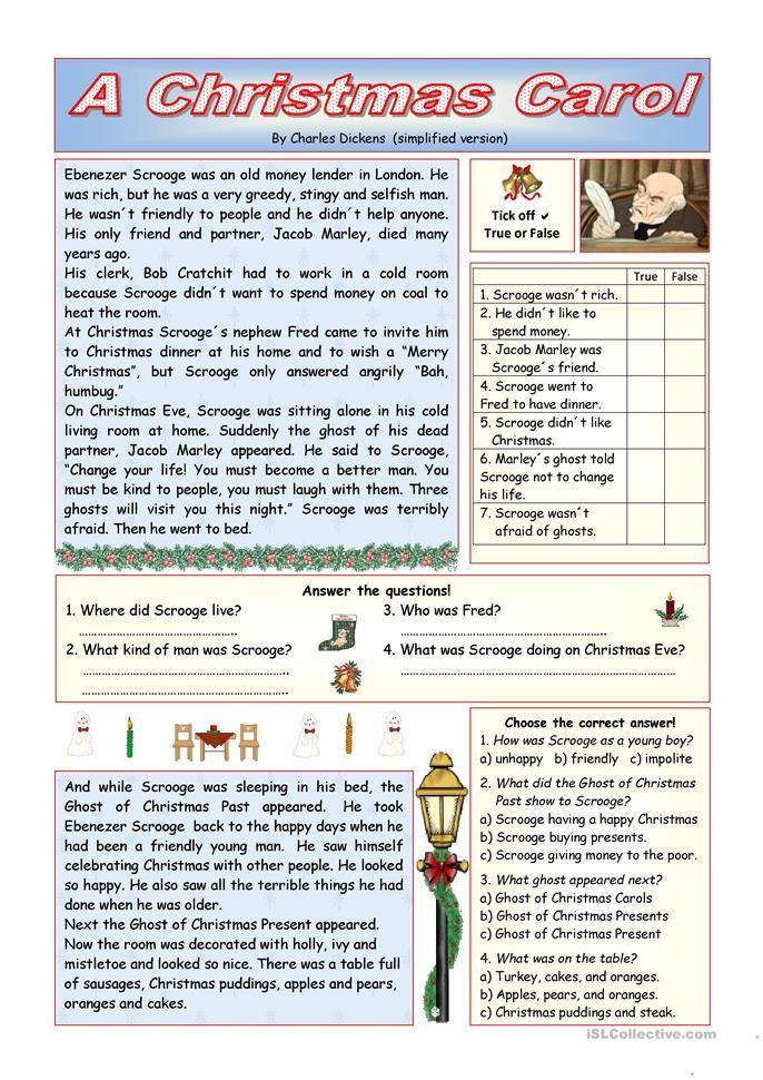 """""""A Christmas Carol"""" - simplified version (KEY included) worksheet - Free ESL printable ..."""
