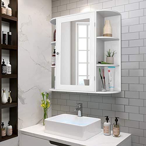 Tangkula Badezimmerschrank Einturiger Wand Medizinschrank Mit Spiegel 4 Eb In 2020 Bathroom Wall Storage Wall Mounted Bathroom Cabinets Wall Mounted Medicine Cabinet