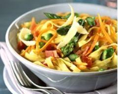 Pâtes aux petits légumes et au jambon Epluchez et râpez grossièrement les carottes. Portez une grande casserole d'eau à ébullition. Plongez-y les pointes d'asperges, les petits pois et carottes râpées. Faites cuire 20 min. Pendant ce temps, faites cuire les pâtes pendant le temps indiqué sur le paquet. Egouttez les légumes et les pâtes. Faites chauffer l'huile dans une grande sauteuse. Faites-y rapidement sauter les légumes et le jambon puis ajoutez les pâtes.  Parsemez de copeaux de…