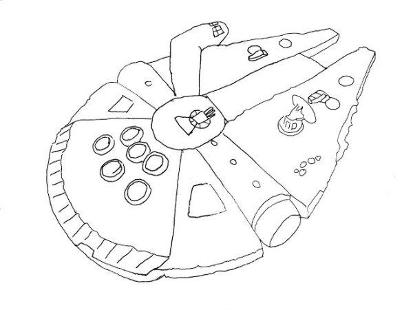 Simple Millenium Falcon Star Wars Ship Coloring Pages | Stars ...