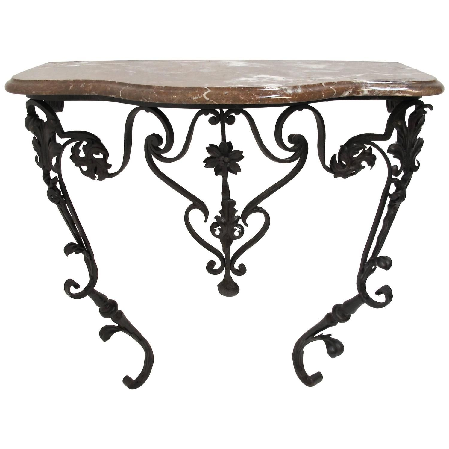 French Wrought Iron And Marble Console Table Marble Console