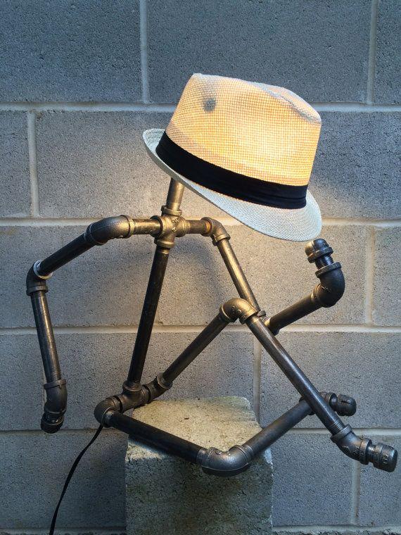 Industrial Pipe Lamp Sculpture