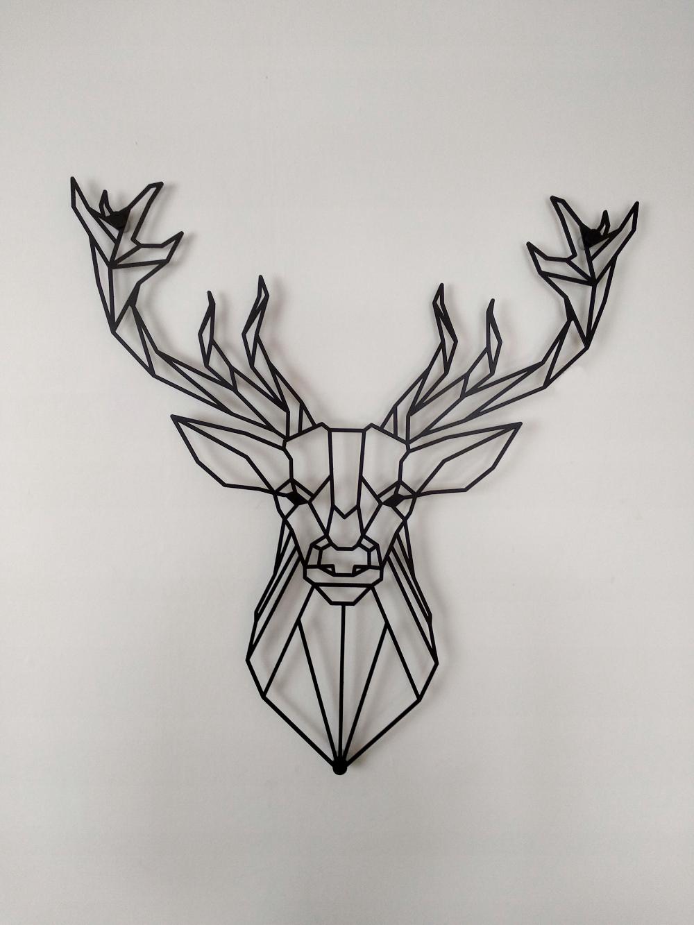 Jelen Geometryczny Metal Styl Skandynawski 50x47cm In 2020 Geometric Tattoo Nature Tattoos Geometric