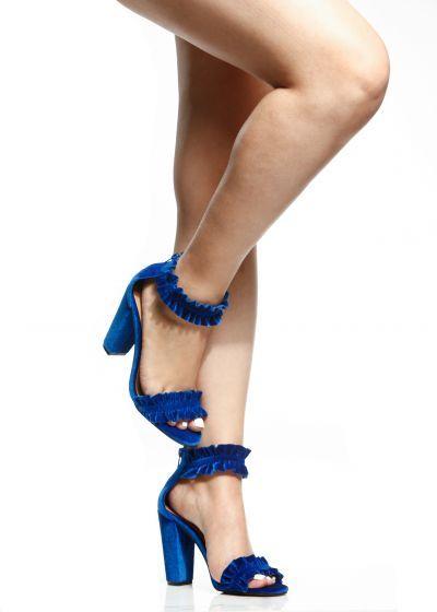 a440c49750c630 Royal Blue Velvet Ruffle Chunky Ankle Strap Heels