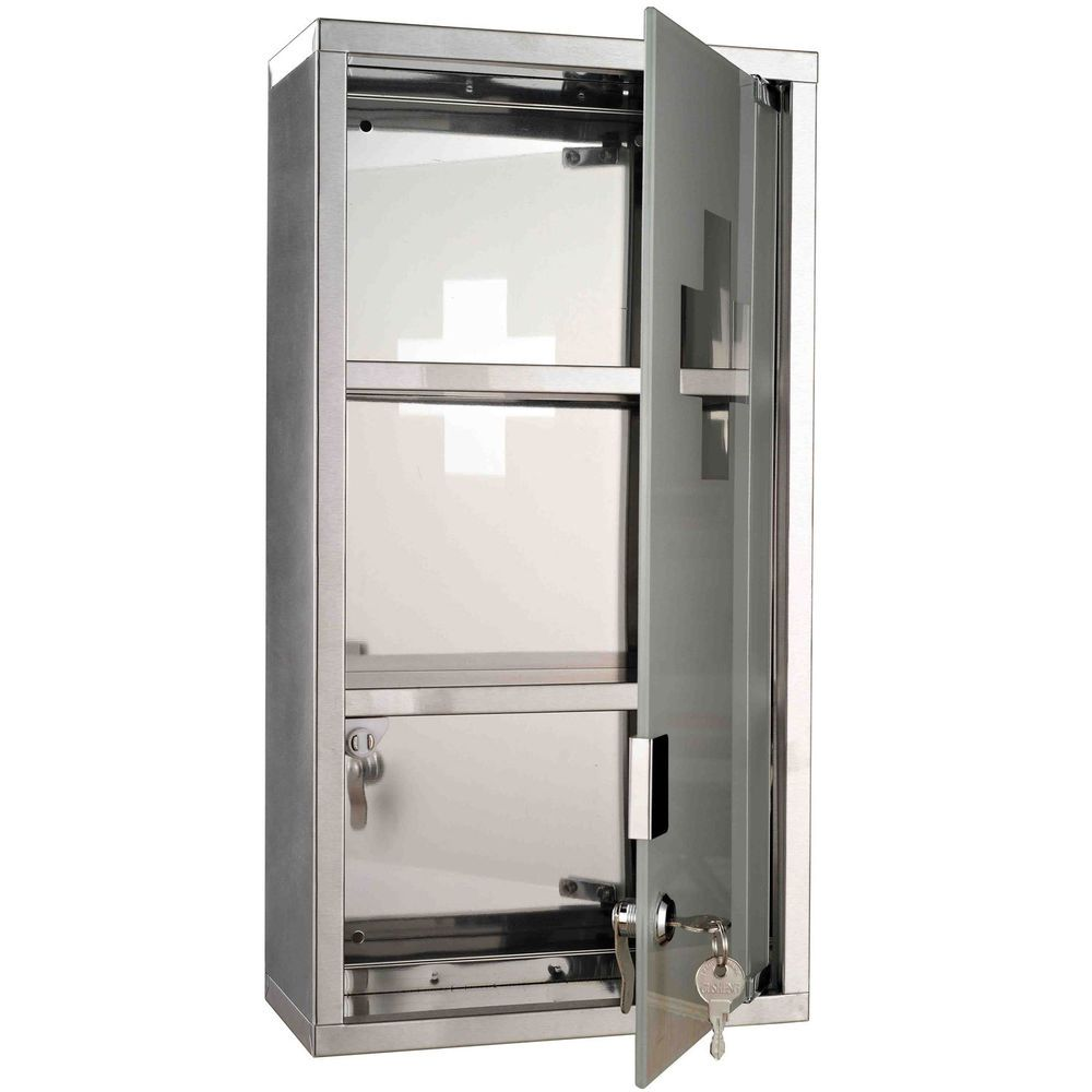 Frosted Glass Door With First Aid Cross Detail. U2022 Stainless Steel Medicine  Cabinet With