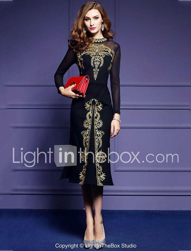 Mujer Noche Vintage Tallas Grandes Corte Bodycon Midi Vestido, Malla ...