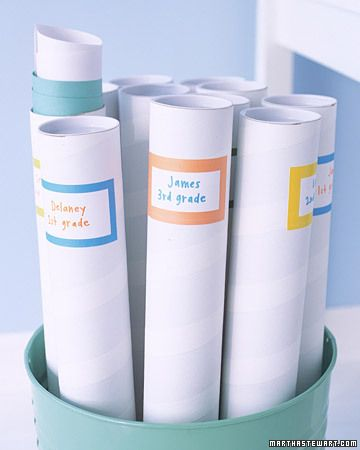 Rather than letting the works of art that don't make it onto a refrigerator door gather dust, devise a system of storing them. One good solution is to label mailing tubes, available at office-supply stores, by semester or year, and fill with rolled-up stacks of artwork.