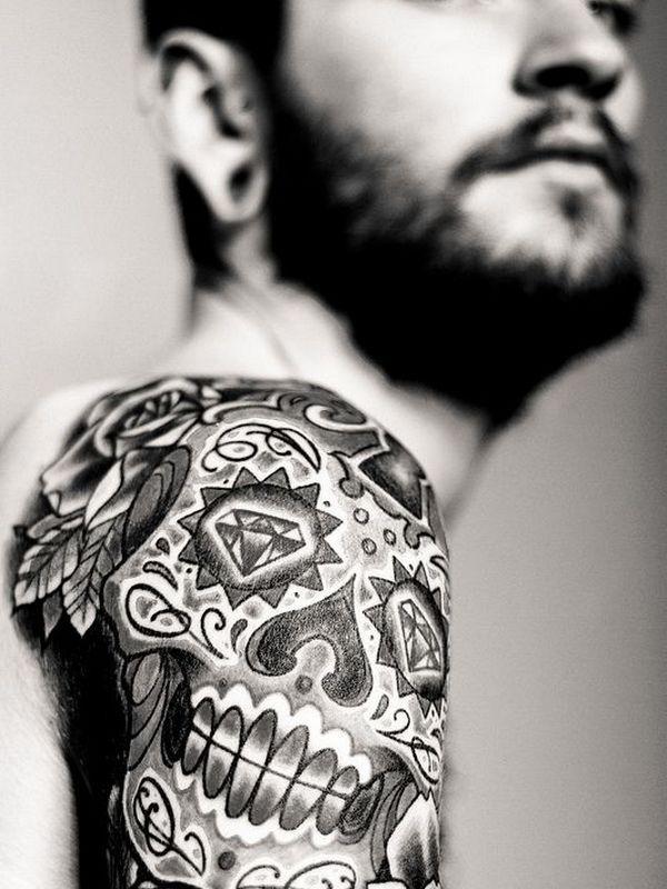 85 Best Sugar Skull Tattoo Designs Meanings 2019 Com Imagens Tatuagem De Caveira Tatuagem Ombro Masculina Desenho Para Tatuagem De Caveira