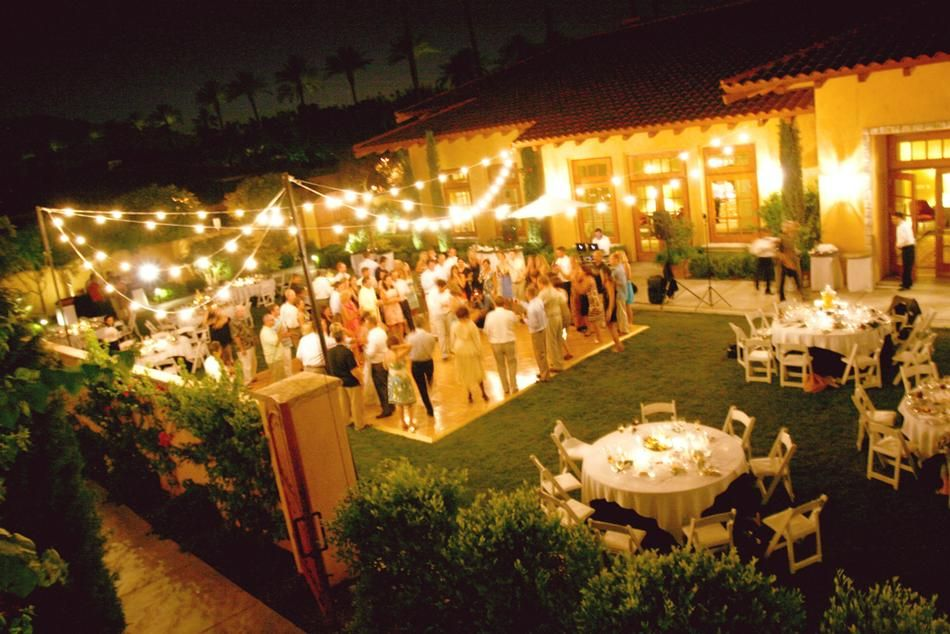 Beautiful Small Wedding Dinner Party Ideas Part - 4: Beautiful Backyard Summer Wedding Reception, With Stringed Lights, Small  Dance Floor, Circle Tables With White Padded Folding Chairs At Miramonte  Resort ...