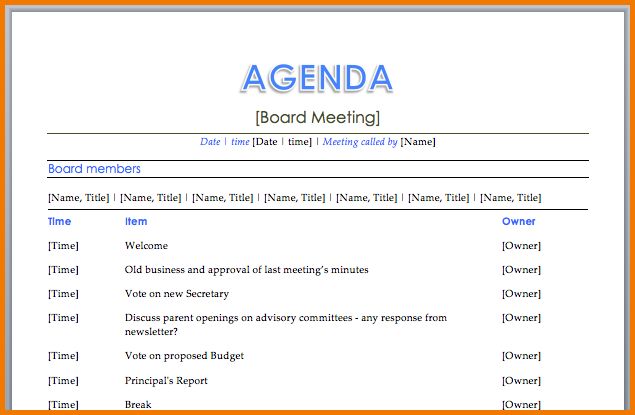 Agenda For A Meeting Template Amazing 18 Free Meeting Agenda Templates  Bates On Design  Itinerary .