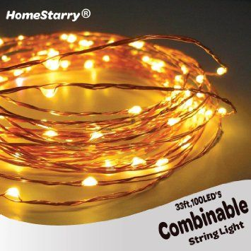 Homestarry® Combinable String Lights on Copper Wire - 100 Warm White LED - 33 Feet Long - You Can Plug One Stand Into Another String Light - Combine up to 8 of them together (264ft ,1000LEDS)- Flexibly Applicable in Such Places As Bedroom, Living Room, Staircase, Garden and Outdoor-100% Satisfaction Guaranteed! Sale:$39.95 & FREE Shipping