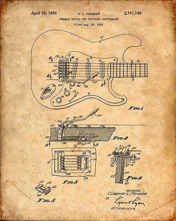 96db17f0b2a6d Copie du brevet de dessin pour une guitare Fender brevet en 1954 ...