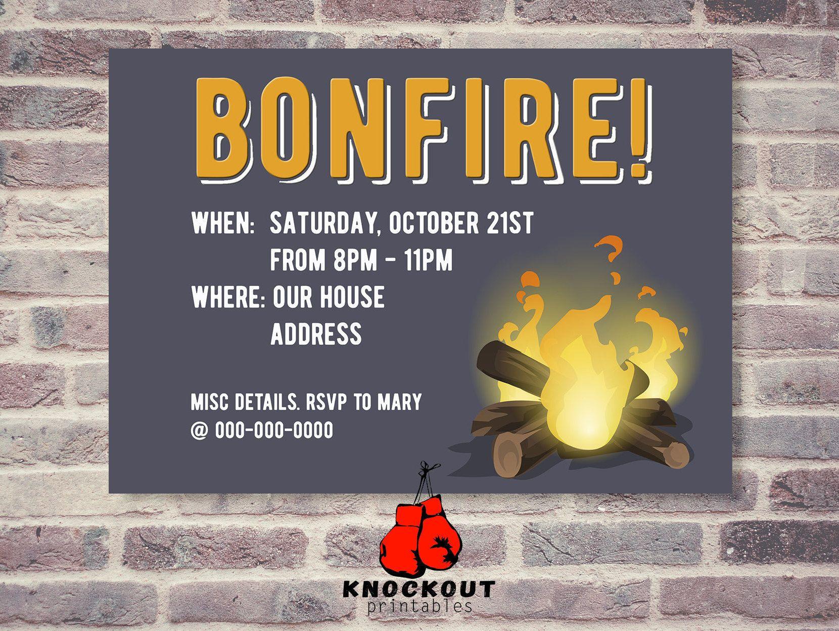 Bonfire Party Invitation Autumn Bonfire Fall Birthday Party