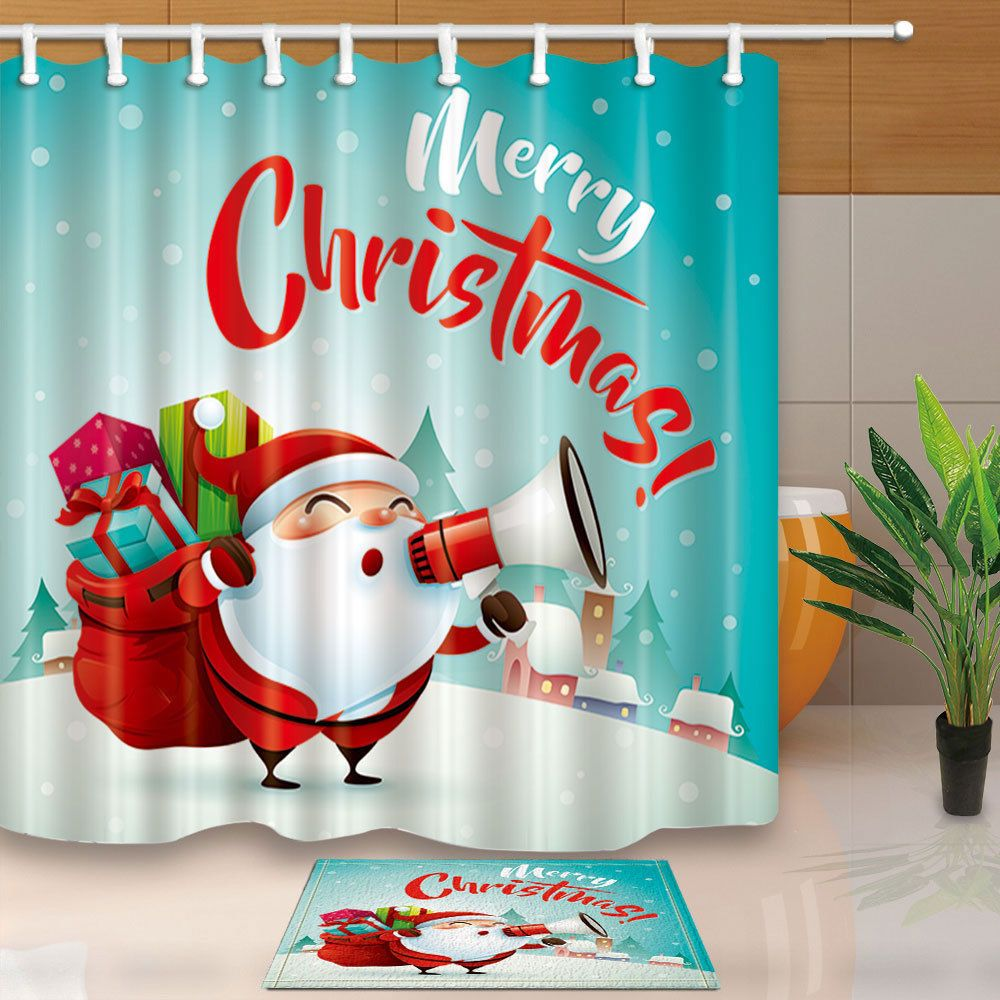Merry Christmas Santa Claus Waterproof Polyester Fabric Shower