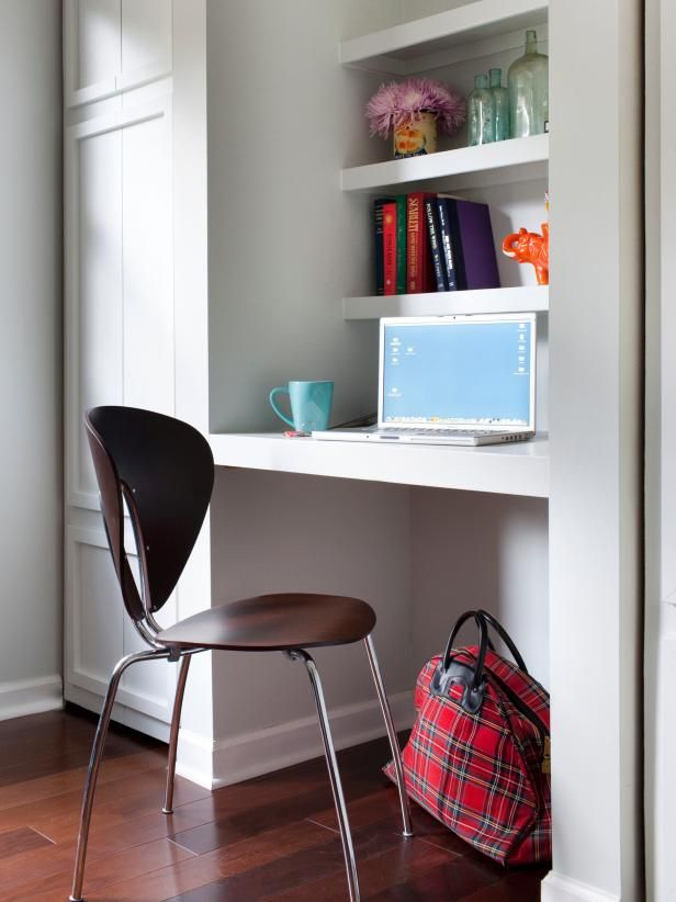Create A Small Space Workstation Small Space Interior Design Home Office Design Small Home Offices