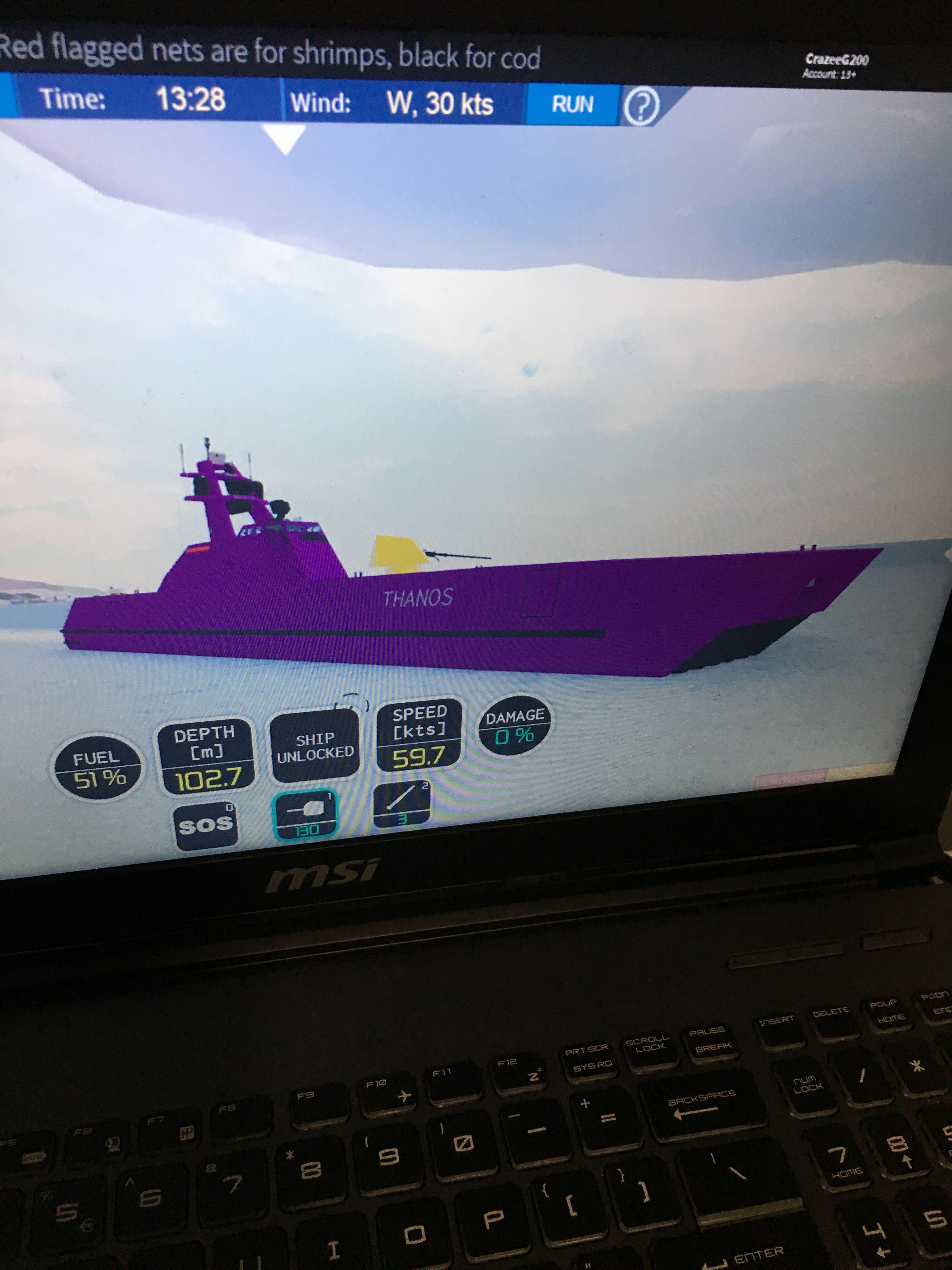 Roblox Dynamic Ship Simulator 3 Limited Edition Thanos Skjold