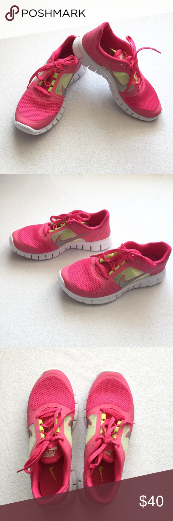 """new products ef19f 55038 Nike Free Run 3 •New in box •Spark Reflect Silver-White-Volt Color (Hot pink  and Fluorescent Yellow) •Big Girls size 5.5 (youth) •Insole   ~9.5"""" •Bundle  and ..."""